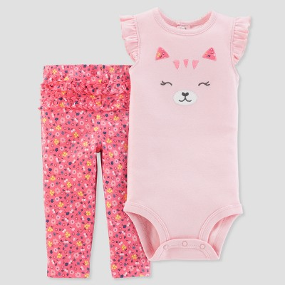 Baby Girls' 2pc Bear Floral Bodysuit and Pants Set - Just One You® made by carter's Pink 3M