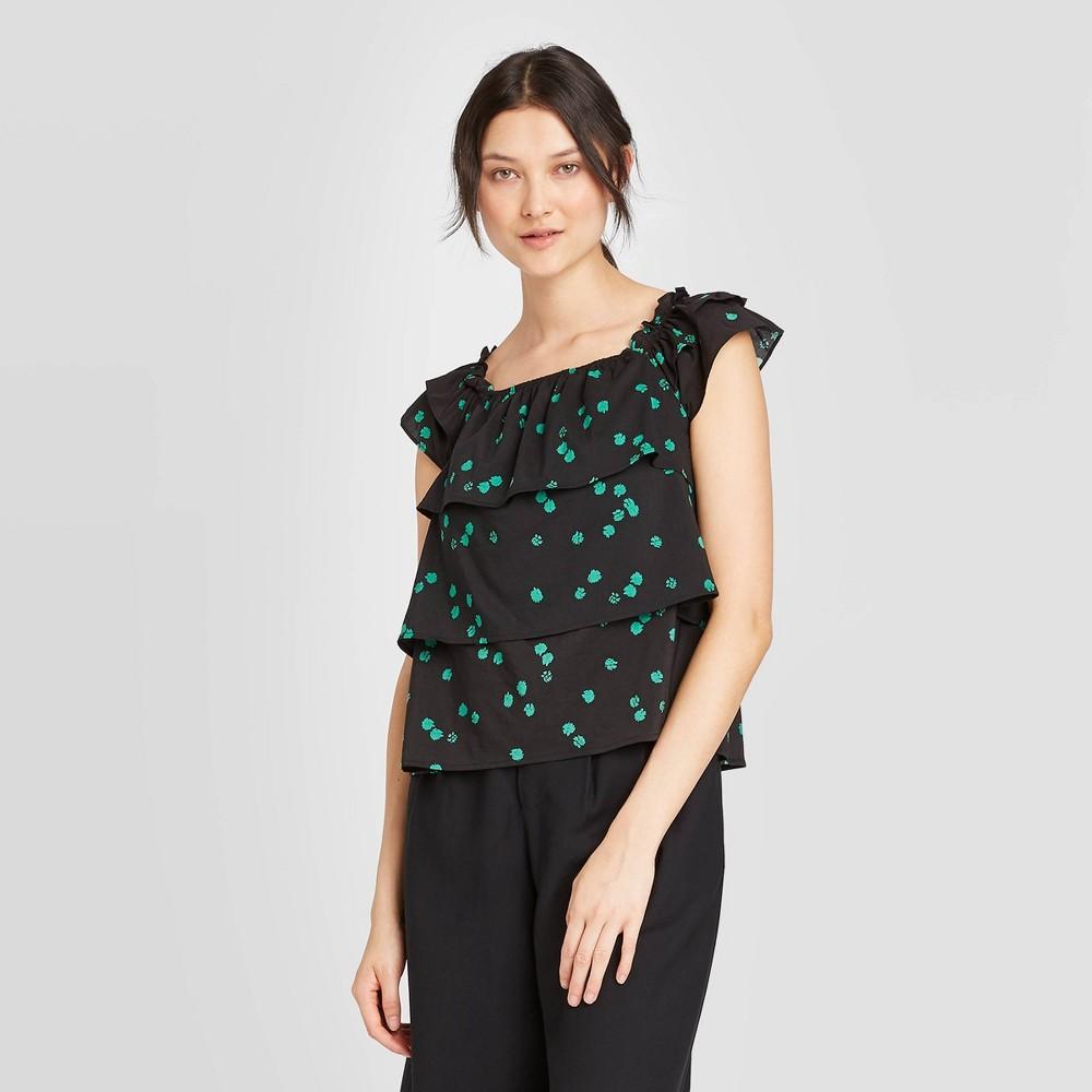 Image of Women's Animal Print Cap Sleeve Blouse - Who What Wear Black XS, Women's