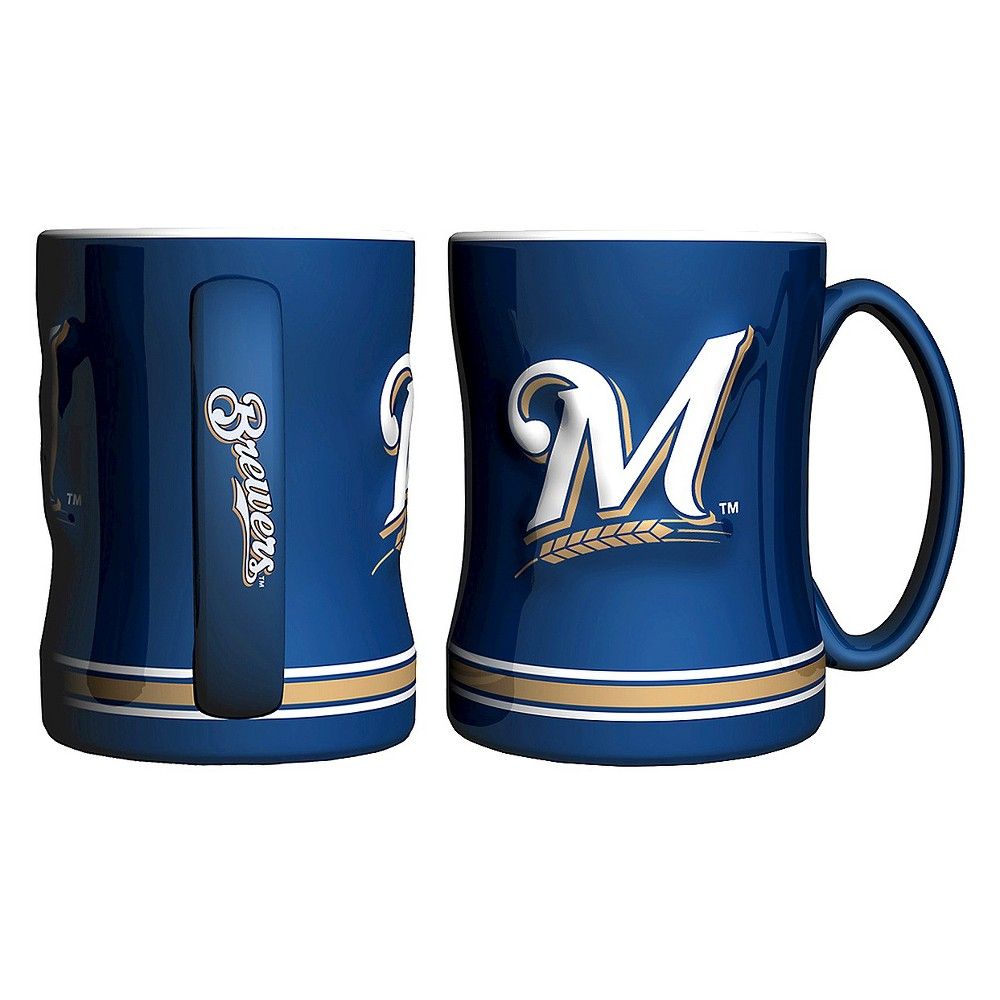 Boelter Brands MLB Brewers Set of 2 Relief Coffee Mug - 14oz, Multi-Colored