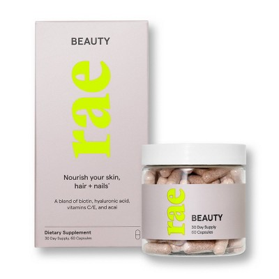 Rae Beauty Dietary Supplement Capsules for Healthy Hair, Skin, and Nails - 60ct