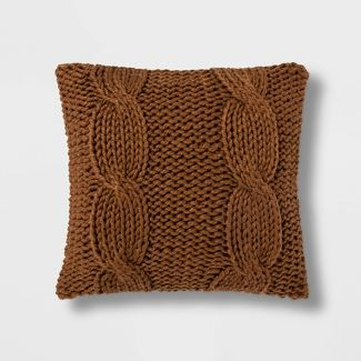 Chunky Cable Knit Square Throw Pillow Brown - Threshold™