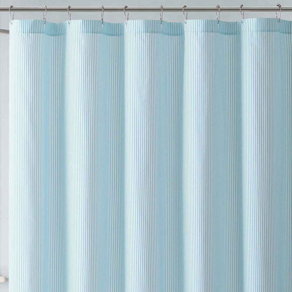 Image of Anytime Striped Shower Curtain Aqua (Blue) - Laura Hart
