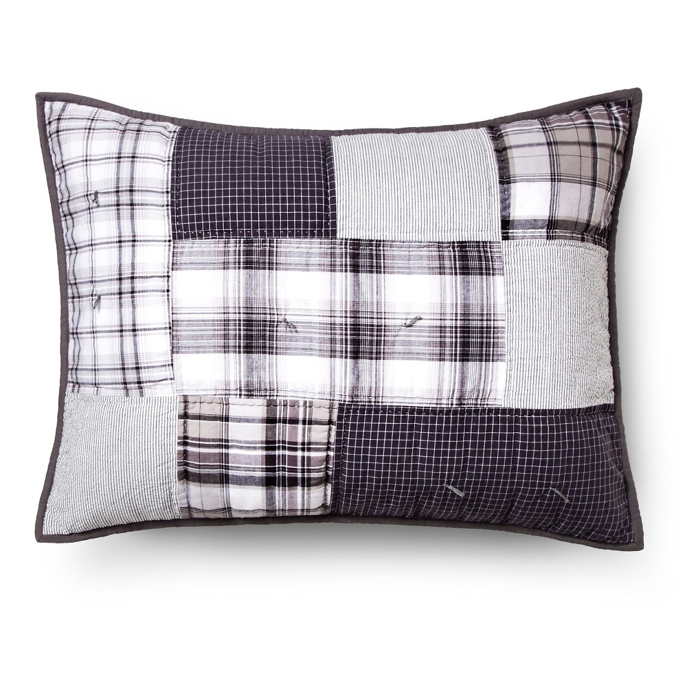 Hand-Stitched Patchwork Plaid Quilted Sham - Standard - Gray & White - Pillowfort