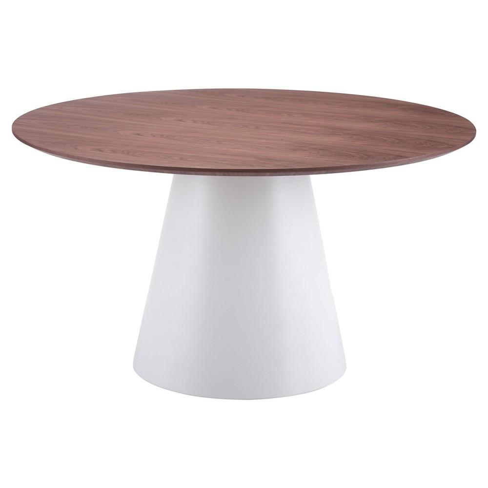 Mid-Century Modern 53.5 Round Dining Table - Walnut/White - ZM Home, White And Walnut