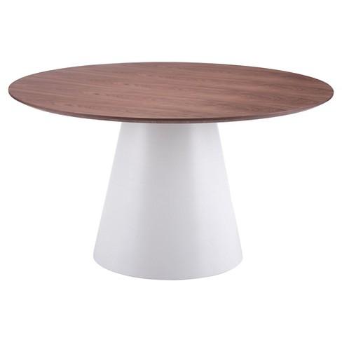 Mid Century Modern 53 5 Round Dining Table Walnut White Zm Home
