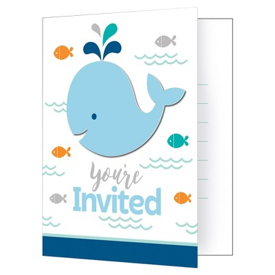 8ct Blue Baby Whale Invitations