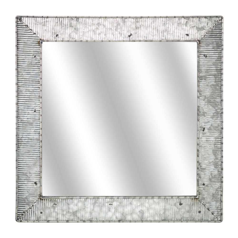 "Image of ""21.65x0.59""""x21.65"""" Galvanized Square Metal Wall Mirror Gray - E2 Concepts"""