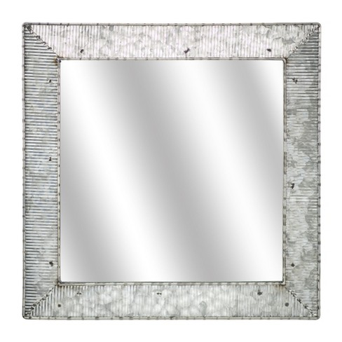 "21.65""x0.59""x21.65"" Galvanized Square Metal Wall Mirror Gray - E2 Concepts - image 1 of 4"
