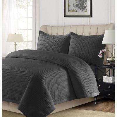Queen 3pc Como Oversized Quilt Set Steel Gray - Tribeca Living