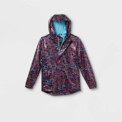 Boys' Shark Print Rain Jacket - Cat & Jack™ Navy