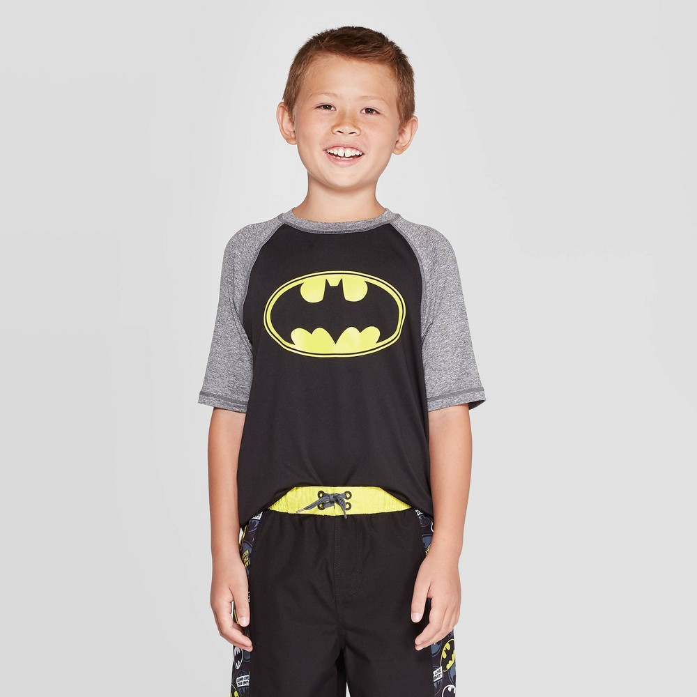 Image of Boys' Batman Swim Rash Guard - Black/Light Gray L, Boy's, Size: Large, MultiColored