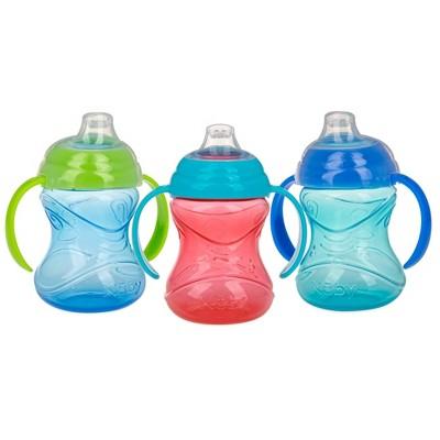 Nuby Cup 3pk Click-It Handle Cup - Aqua/Blue/Red - 8oz