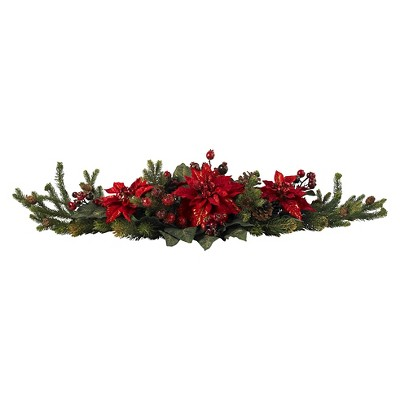 Poinsettia & Berry Centerpiece - Nearly Natural