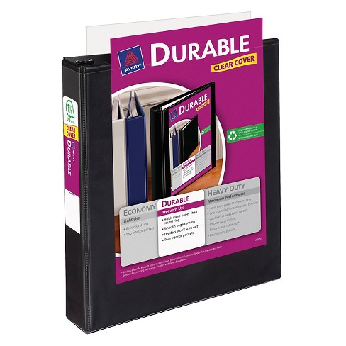 avery 1 5 3 ring binder with durable clear cover white target