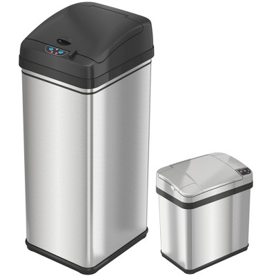 iTouchless Combo Set Touchless Sensor Kitchen and Bathroom Trash Cans with AbsorbX Odor Filter 13 and 2.5 Gallon Silver Stainless Steel
