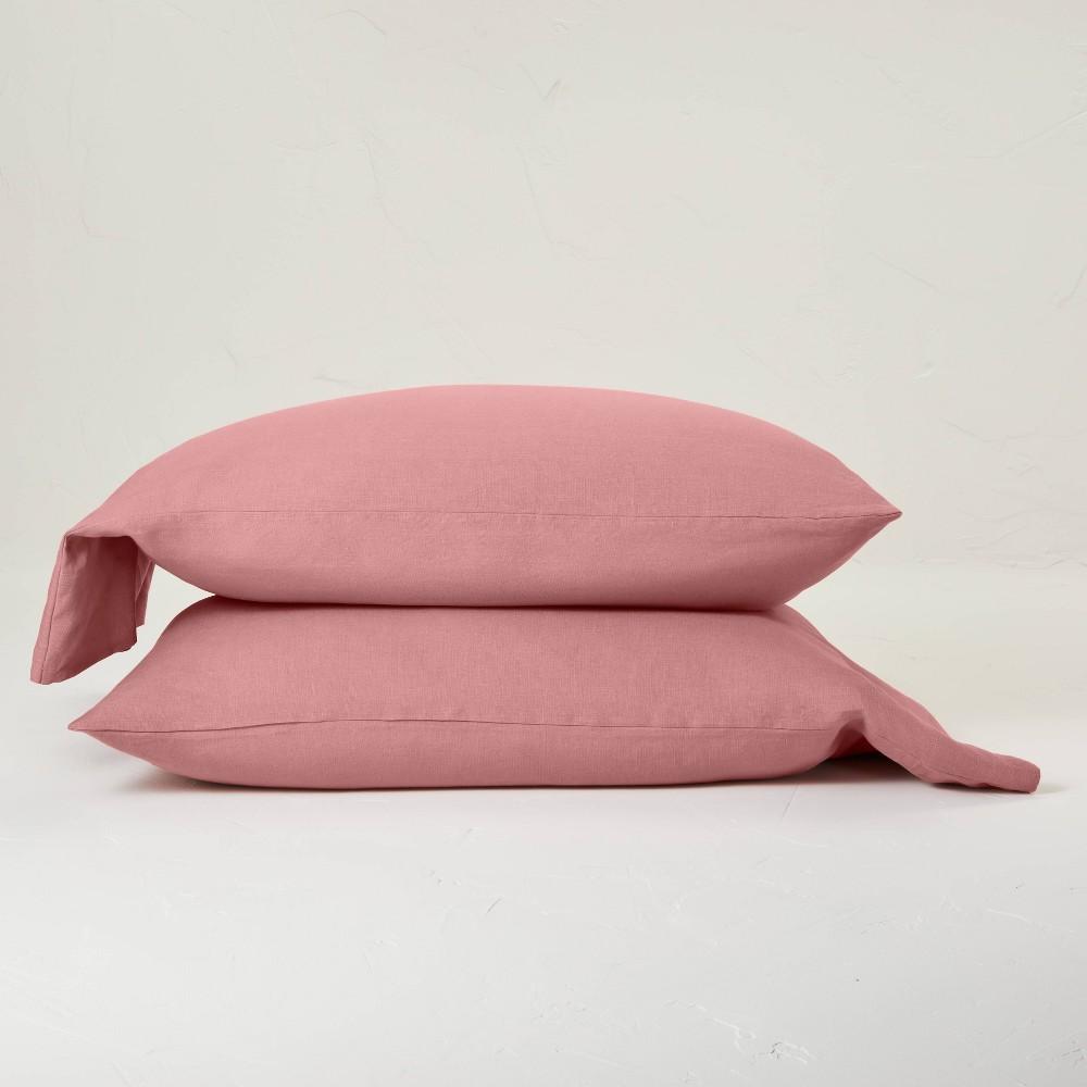 Standard 100 Washed Linen Solid Pillowcase Set Rose Casaluna 8482