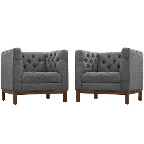 Panache Living Room Set Upholstered Fabric Set of 2 Gray - Modway - image 1 of 5