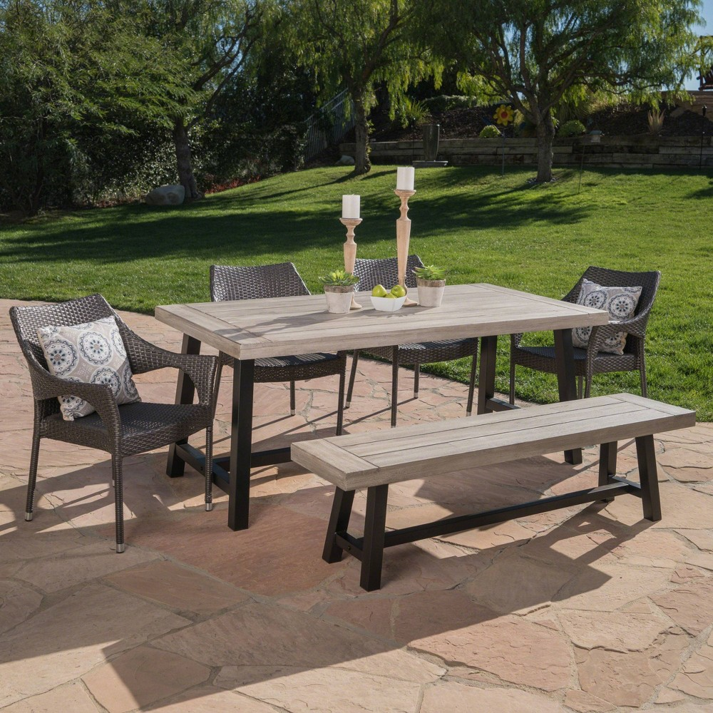 Fletcher 6pc Wicker and Acacia Wood Dining Set - Gray - Christopher Knight Home