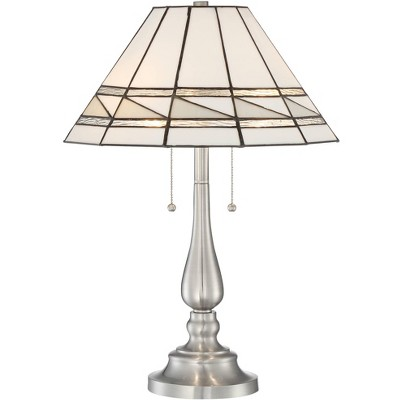 Robert Louis Tiffany Modern Accent Table Lamp Brushed Nickel Geometric Stained Art Glass Shade Living Room Bedroom Bedside Office