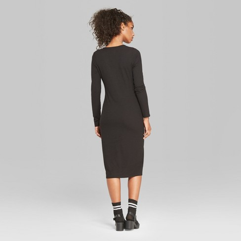 be97c98829 Women's Long Sleeve Rib Henley Midi Dress - Wild Fable™ Black. Shop all Wild  Fable