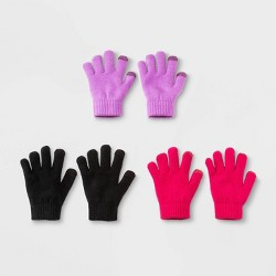 Girls' 3 pk Gloves - Cat & Jack™ Black/Violet/Pink One Size