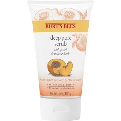 Burt's Bees Peach & Willow Bark Deep Pore Exfoliating Facial Scrub - 4oz