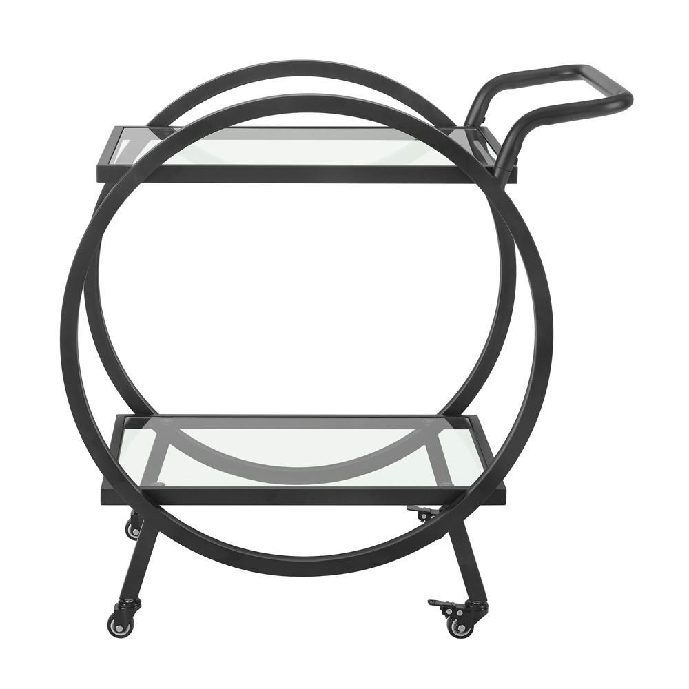 32 Round Frame Serving/Bar Cart Black - Saracina Home