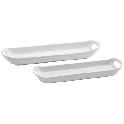 2pk Stoneware Narrow Serving Platters with Handles - Tabletops Gallery