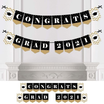 Big Dot of Happiness Gold Tassel Worth The Hassle - 2021 Graduation Party Bunting Banner - Gold Party Decorations - Congrats Grad 2021
