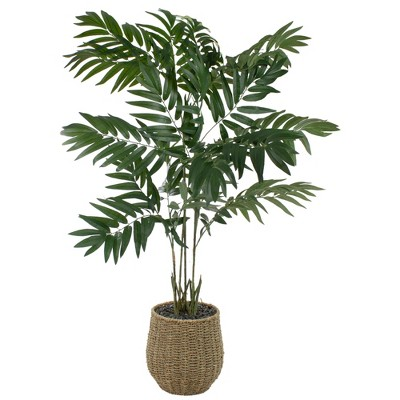 Northlight 4' Green and Brown Artificial Potted Palm Tree in a Wicker Pot