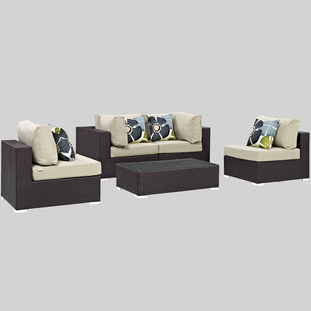 Convene 5pc Outdoor Patio Sectional Set - Beige - Modway