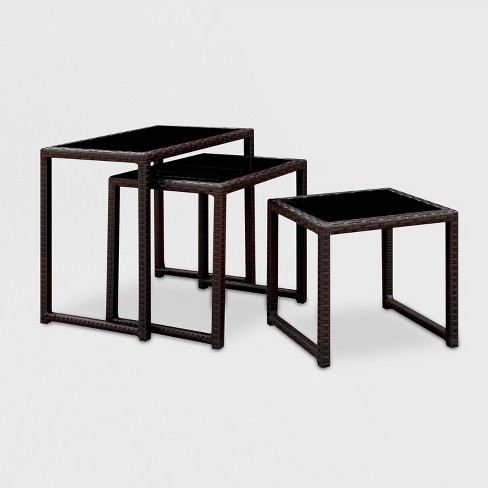 Kaine Square Modern Nesting Side Tables Espresso Mibasics