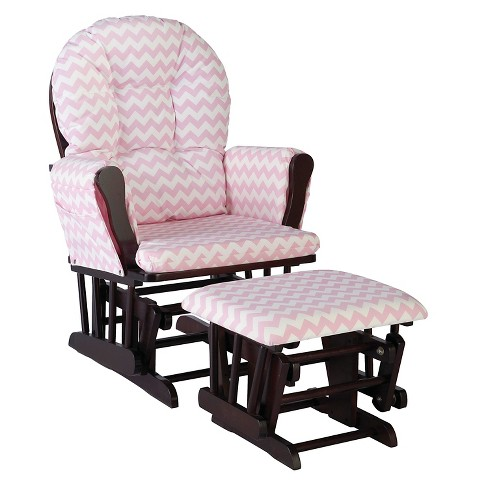 Stork Craft Hoop Espresso Glider and Ottoman - Pink Chevron - image 1 of 2