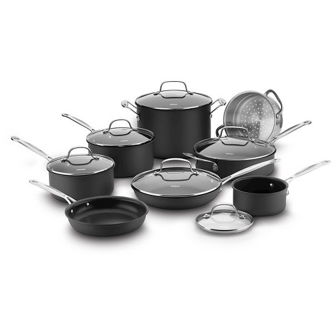 Cuisinart Chef's Classic Nonstick Hard Anodized 14 Piece Cookware Set w/cover - 66-14N - image 1 of 4