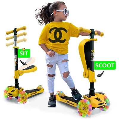 Hurtle ScootKid 3 Wheel Toddler Child Mini Ride On Toy Tricycle Scooter with Adjustable Handlebar, Foldable Seat, and LED Light Up Wheels, Yellow