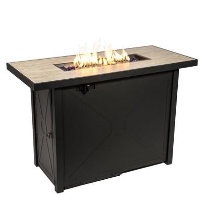 "Farmhouse 28"" Steel Ceramic Propane Gas Fire Pit Table - Black/Brown - Teamson Home"