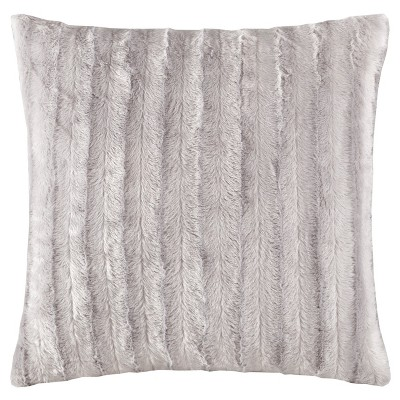 Gray York Brushed Solid Stripe Plaited Long Faux Fur Throw Pillow (20 x20 )