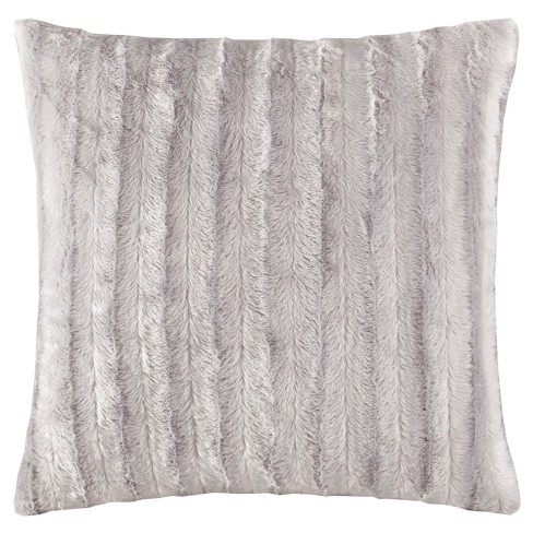"Gray York Brushed Solid Stripe Plaited Long Faux Fur Throw Pillow (20""x20"") - image 1 of 3"