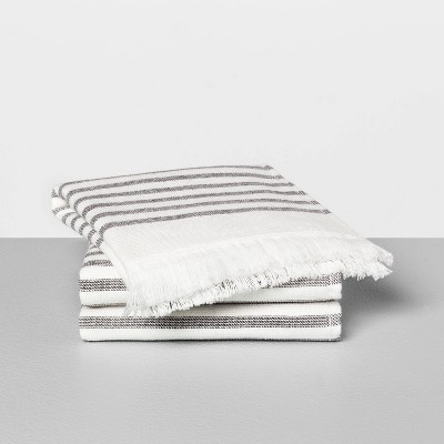 3pc Washcloth Core Stripe Railroad Gray - Hearth & Hand™ with Magnolia