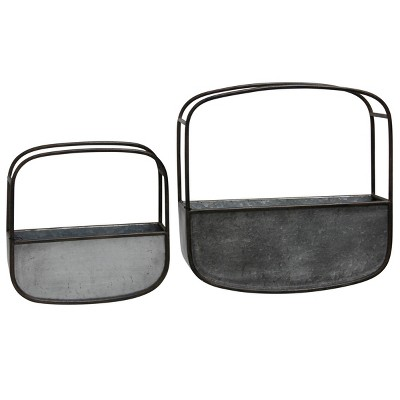 Set of 2 Collection of Rounded Square Metal Wall Baskets Silver/Black - StyleCraft