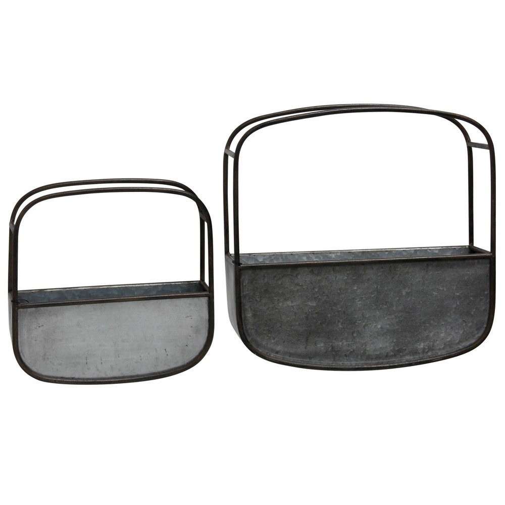 Set of 2 Collection of Rounded Square Metal Wall Baskets Silver/Black - StyleCraft was $79.99 now $55.99 (30.0% off)