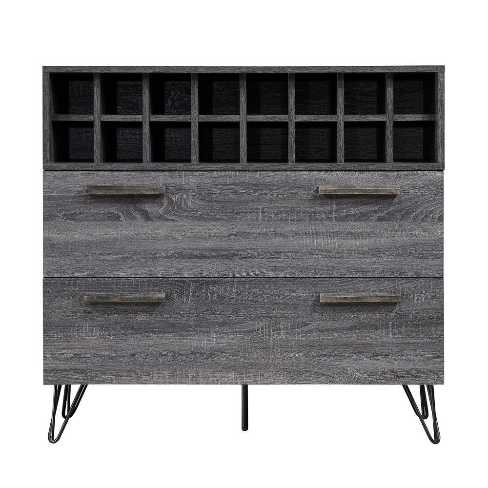 Amelia Mid Century Wine and Bar Cabinet Sonoma Gray Oak - Christopher Knight Home