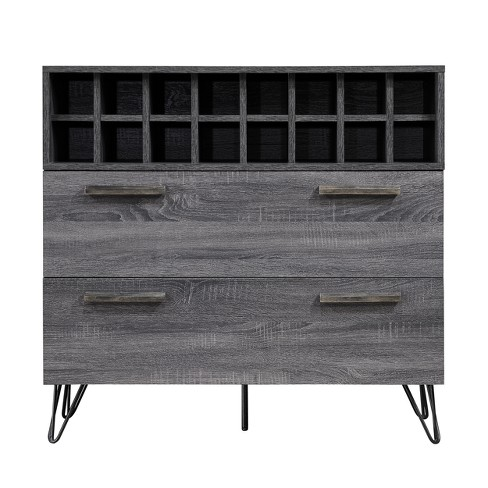 Amelia Mid Century Wine and Bar Cabinet Sonoma Gray Oak - Christopher Knight Home - image 1 of 4
