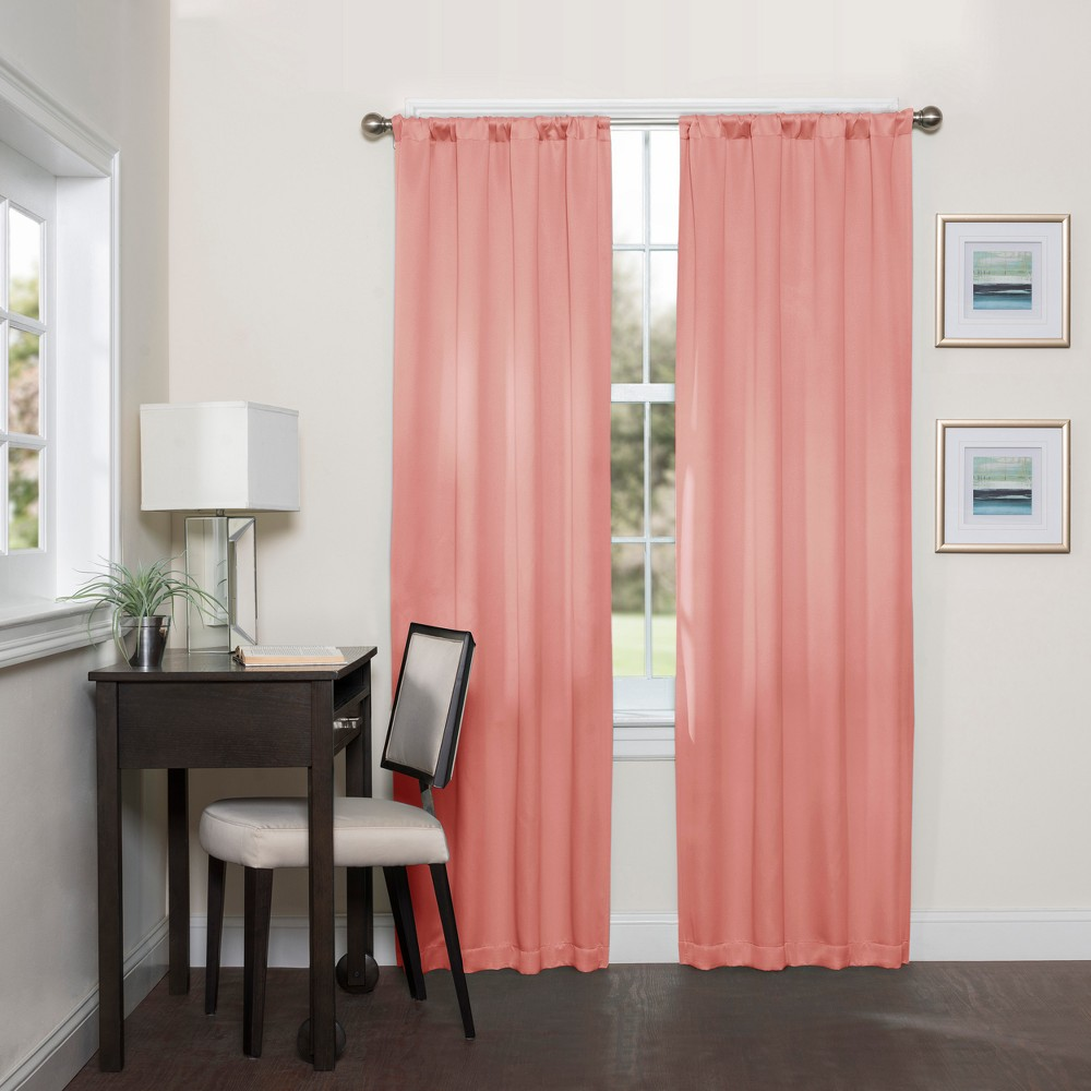 Darrell Thermaweave Blackout Curtain Coral (Pink)/Solid 37X95 - Eclipse