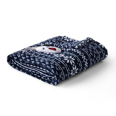 Microplush Electric Snowflake Throw (62 x50 )Navy - Biddeford Blankets