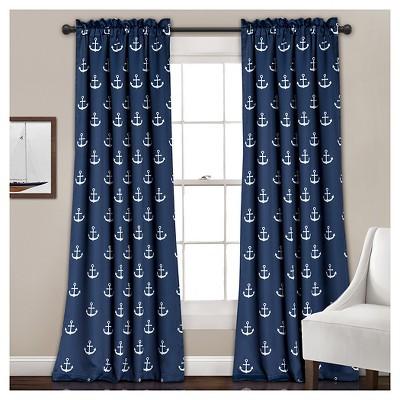 """Anchor Room Darkening Window Curtain Set Navy (52""""x84"""") - Lush Décor"""
