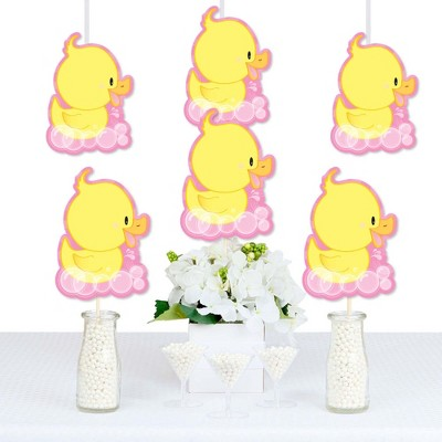 Big Dot of Happiness Pink Ducky Duck - Decorations DIY Baby Shower or Birthday Party Essentials - Set of 20