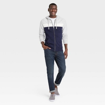 Men's Colorblock Regular Fit Full Zip Fleece Pullover Hoodie - Goodfellow & Co™ Dark Blue