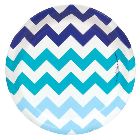 8ct Blue Chevron Dinner Plate - image 1 of 1