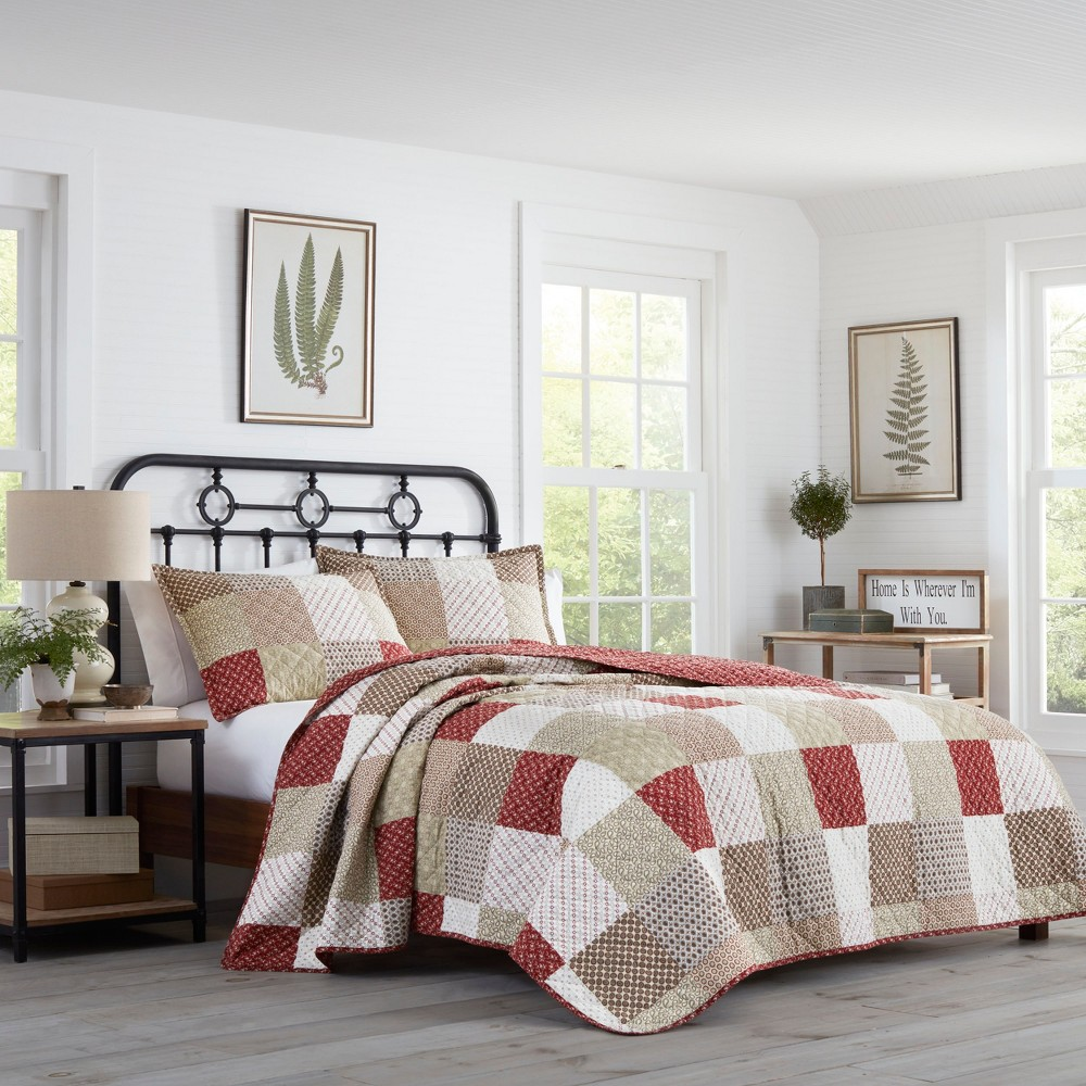 Full/Queen Rivington Quilt Set Beige - Stone Cottage, Red